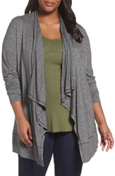 Sejour Plus Size Women's Open Front Cardigan Grey Dark Charcoal Heather