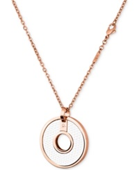 Calvin Klein Rose Gold Pvd White Leather Circle Pendant Necklace