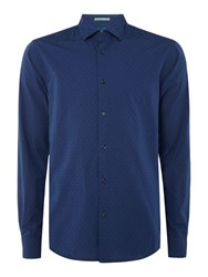 Scotch And Soda Men's Structured Cotton Shirt With Contrast Indigo