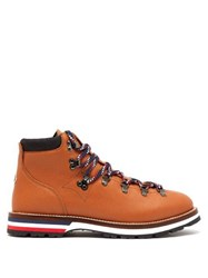 Moncler Peak Lace Up Leather Boots Brown Multi