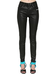 Off White Coated Skinny Jeans Black
