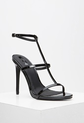 Forever 21 Faux Leather T Strap Stiletto Sandals Black