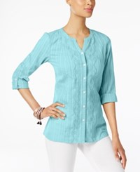 Jm Collection Petite Cotton Embroidered Shirt Only At Macy's Pacific Aqua