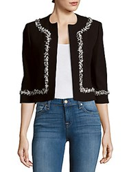 Carolina Herrera Virgin Wool Blend Open Front Jacket Black