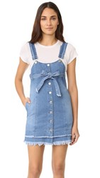 Sjyp Button Front Strap Denim Dress Denim Blue