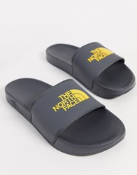 The North Face Base Camp Ii Sliders In Grey Yellow