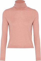 Red Valentino Redvalentino Woman Point D'esprit Trimmed Cashmere And Silk Blend Turtleneck Sweater Antique Rose