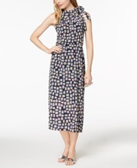 Maison Jules Printed Tie Neck Halter Dress Created For Macy's Blue Notte Combo