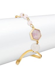 Stephanie Kantis Organic Rose Quartz Quartz And Amethyst Bracelet Gold