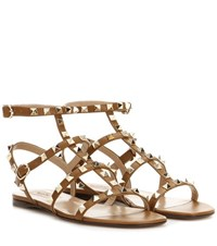 Valentino Rockstud Leather Sandals Brown