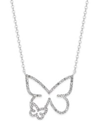 Inc International Concepts Silver Tone Pave Double Butterfly Pendant Necklace Only At Macy's
