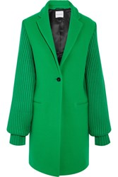 Mira Mikati Ask Me Later Embroidered Wool Blend Coat Bright Green