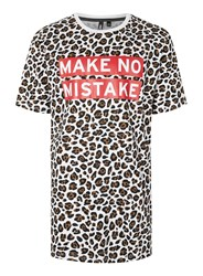 Topman Aaa Leopard Print Make No Mistake Slogan Oversized T Shirt Multi