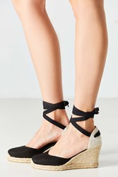 Soludos Tall Linen Wedge Black