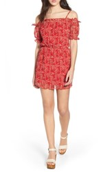 The Fifth Label Apricity Freesia Print Off Shoulder Dress Scarlet Freesia