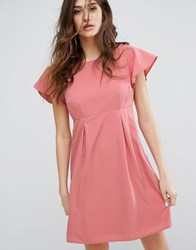 Vero Moda Emma Dress With Ruffle Sleeves In Dusty Rose Dusty Rose Pink