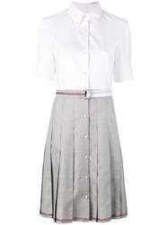 Thom Browne Pleated Shirt Dress Women Silk Wool 42 White