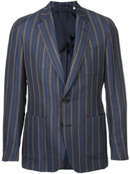 Gieves And Hawkes Stripe Fitted Blazer Blue