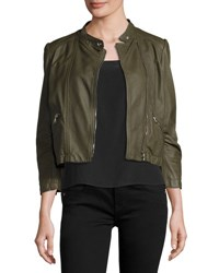Rebecca Taylor Cropped Lamb Leather Moto Jacket Olive