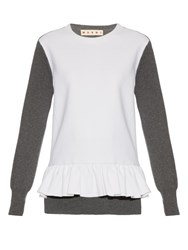 Marni Long Sleeved Wool Blend Crepe And Knit Top Grey White