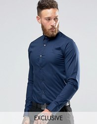 Only And Sons Skinny Shirt With Stretch Navy