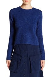Marc By Marc Jacobs Merino Wool Blend Cropped Sweater Blue