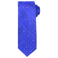 John Lewis Small Disco Dot Woven Silk Tie Royal Blue Multi