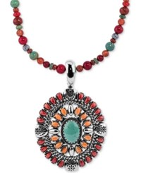 American West Multi Stone Pendant Necklace 12 1 4 Ct. T.W. In Sterling Silver