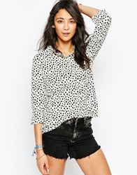 Brave Soul Long Sleeve Heart Dot Blouse Whiteblack