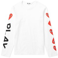 Comme Des Garcons Play 'S Long Sleeve Multi Heart Logo Tee White