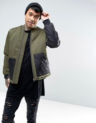 Asos Bomber Jacket With Quilted Panels In Khaki Khaki Green