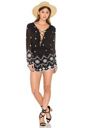 Wayf Embroidered Romper Black And White