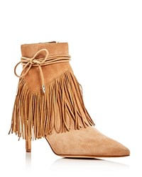 Sam Edelman Marion Fringe Pointed Toe High Heel Booties Tan
