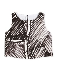 Milly Minis Sleeveless Scribble Print Crop Top Black Size 8 14 Girl's Size 10