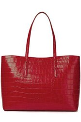 Aspinal Of London Woman Regent Glossed Croc Effect Leather Tote Claret