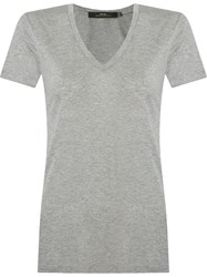 Andrea Marques Deep V Neck T Shirt Grey