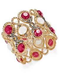 Inc International Concepts Gold Tone Hematite Pave And Colored Stone Stretch Bracelet Only At Macy's Pink
