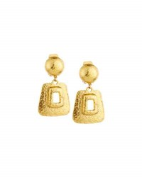 Jose And Maria Barrera Hammered Link Drop Earrings Gold