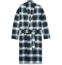 Sleepy Jones Leepy Jone Checked Cotton Flannel Robe Dark Green