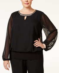 Msk Plus Size Embellished Keyhole Blouson Top Black Silver