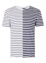 Topman White Navy Stripe Spliced T Shirt
