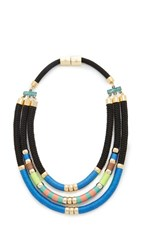 Holst Lee Day At The Beach Tri Strand Necklace Blue Multi