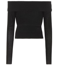 Diane Von Furstenberg Wool Blend Off The Shoulder Top Black