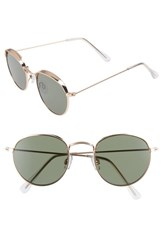 Bp. 50Mm Round Sunglasses Gold Green Gold Green