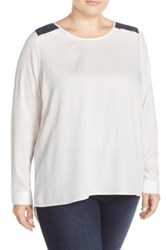 Junarose 'Clance' Lace Inset Blouse Plus Size White