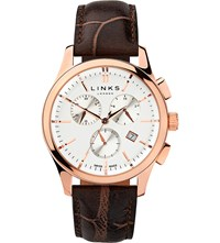 Links Of London 6020.1159 Regent Chronograph Rose Gold Black Dark Salmon Plated Stainless Steel And Leather Watch