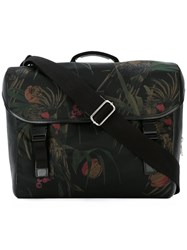 Paul Smith Ps By Floral Print Cross Shoulder Bag Men Calf Leather Leather Acrylic Polyamide One Size Black