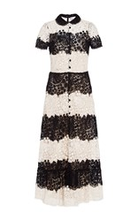 Red Valentino Short Sleeve Lace Dress Black