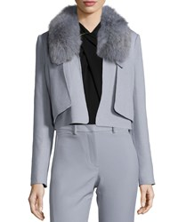 Halston Cropped Removable Fur Collar Jacket Haze