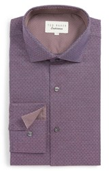 Ted Baker Big And Tall London Nudee Trim Fit Dot Dress Shirt Red